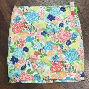 Talbots floral NWT 16P back zip 100% cotton skirt